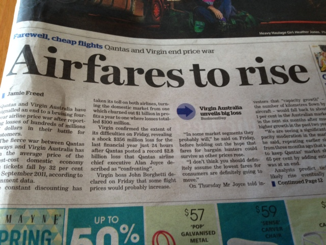 Airline Profits, Sydney Morning Herald, 31.8.2014